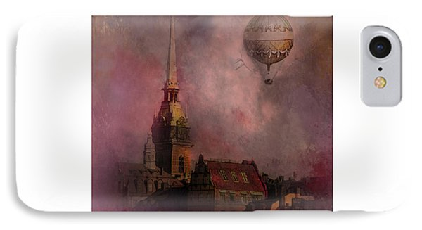 IPhone Case featuring the digital art Stockholm Church With Flying Balloon by Jeff Burgess