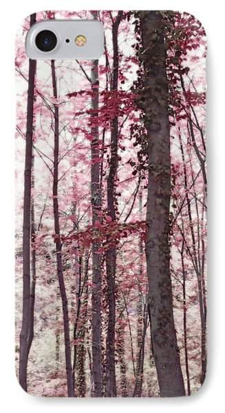 Ethereal Austrian Forest In Marsala Burgundy Wine IPhone Case by Brooke T Ryan