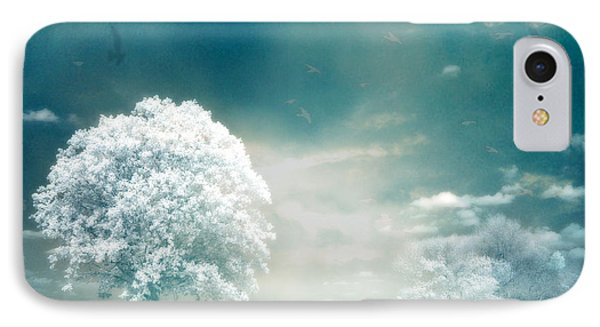 Ethereal Surreal Dreamy Nature Trees Landscape - Aqua Teal Mint Infrared Nature  IPhone Case