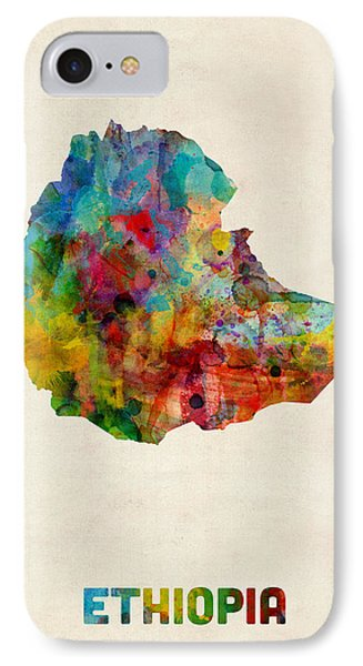 Ethiopia Watercolor Map IPhone Case by Michael Tompsett