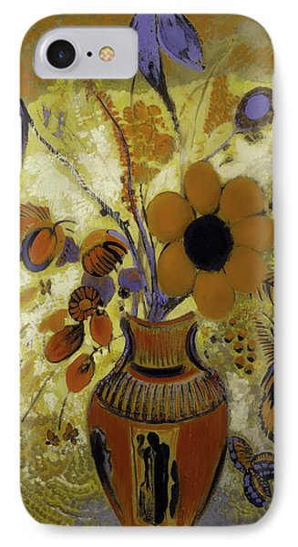 IPhone Case featuring the painting Etrusian Vase With Flowers by Odilon Redon
