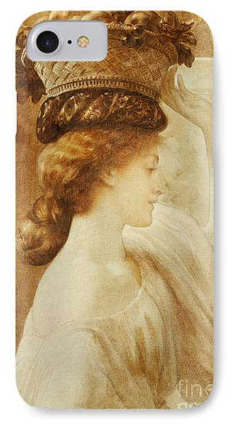 Eucharis  A Girl With A Basket Of Fruit IPhone Case by Frederic Leighton