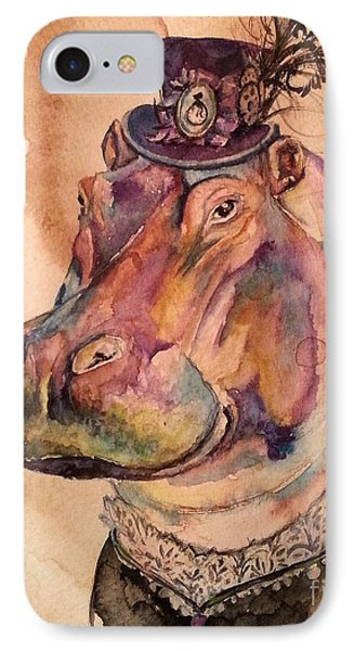 IPhone Case featuring the painting Eunice Hippo by Christy  Freeman