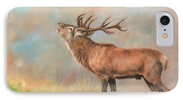 IPhone Case featuring the painting European Red Deer by David Stribbling