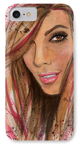IPhone Case featuring the painting Eva Longoria by P J Lewis