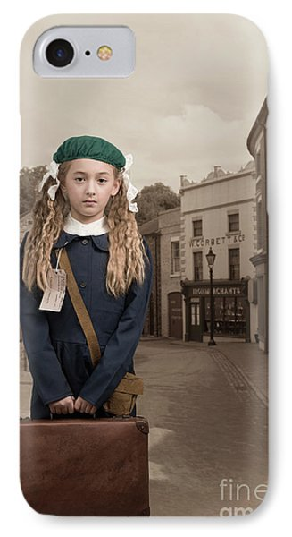 Evacuee Girl With Suitcase IPhone Case