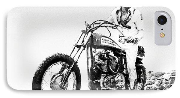 Evel Knievel Painting Black And White IPhone Case by Tony Rubino