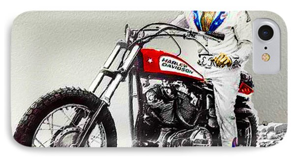 Evel Knievel Painting Full Color Large IPhone Case by Tony Rubino