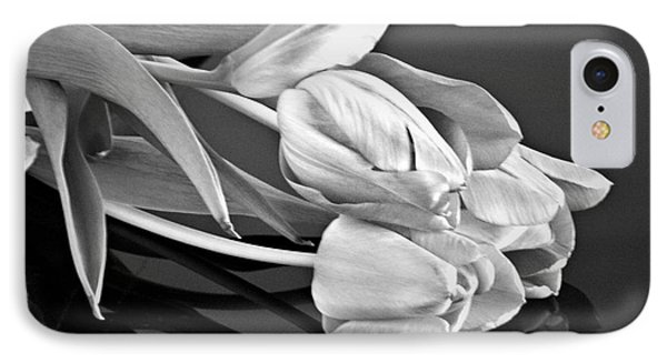 Even Tulips Are Beautiful In Black And White IPhone Case by Sherry Hallemeier
