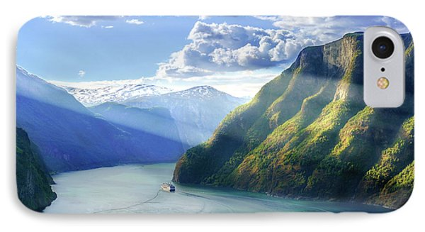 IPhone Case featuring the photograph Evening Over Geirangerfjord by Dmytro Korol