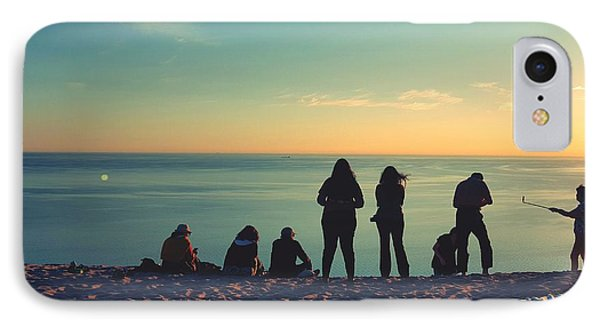 Evening Silhouettes At Lake Michigan Overlook IPhone Case by William Slider