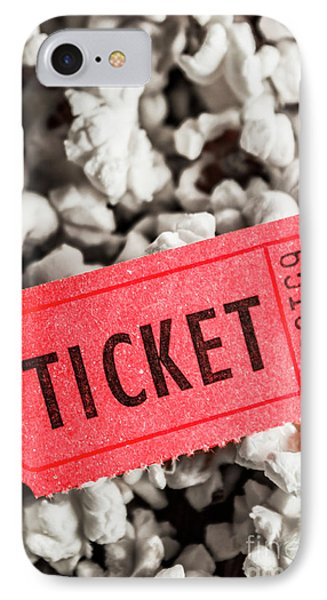 Event Ticket Lying On Pile Of Popcorn IPhone Case by Jorgo Photography - Wall Art Gallery