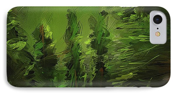 Evergreens - Green Abstract Art IPhone Case by Lourry Legarde