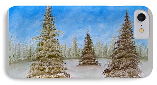 Evergreens In Snowy Field Enhanced Colors IPhone Case
