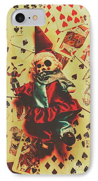 Evil Clown Doll On Playing Cards IPhone Case by Jorgo Photography - Wall Art Gallery
