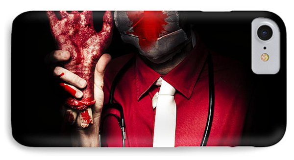 Evil Dark Medical Surgeon Waving Amputated Hand IPhone Case by Jorgo Photography - Wall Art Gallery