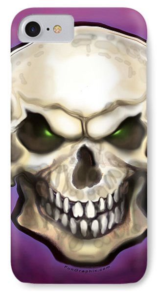 IPhone Case featuring the painting Evil Skull by Kevin Middleton
