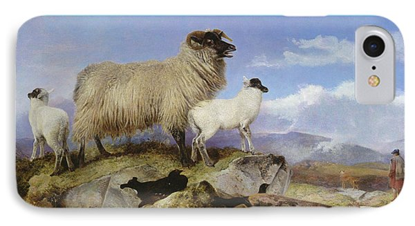 Ewe And Lambs IPhone Case by Richard Ansdell
