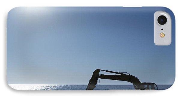 Excavator Digging In The Ocean Phone Case by Skip Nall