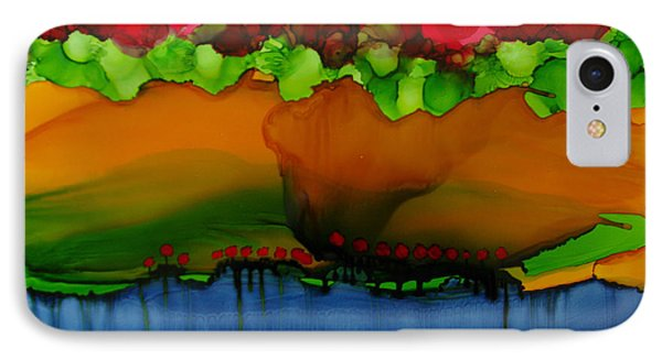 IPhone Case featuring the painting Exotic Landscape # 36 by Sima Amid Wewetzer