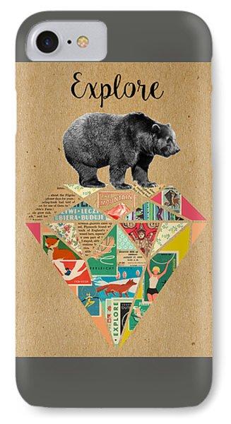 Explore Bear  Phone Case by Claudia Schoen
