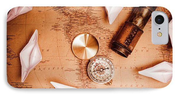 Explorer Desk With Compass, Map And Spyglass IPhone Case