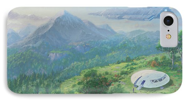 IPhone Case featuring the digital art Exploring New Landscape Spaceship by Martin Davey