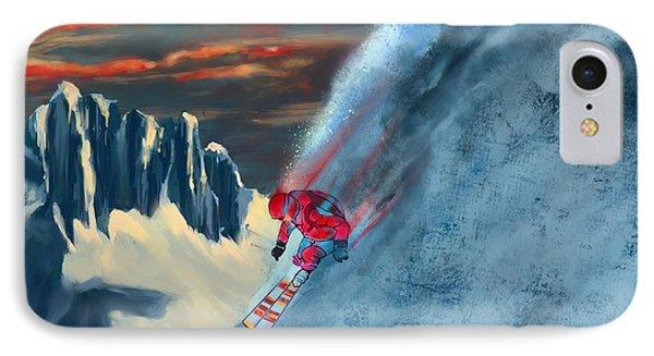 Mountain Sunset iPhone 7 Case - Extreme Ski Painting  by Sassan Filsoof