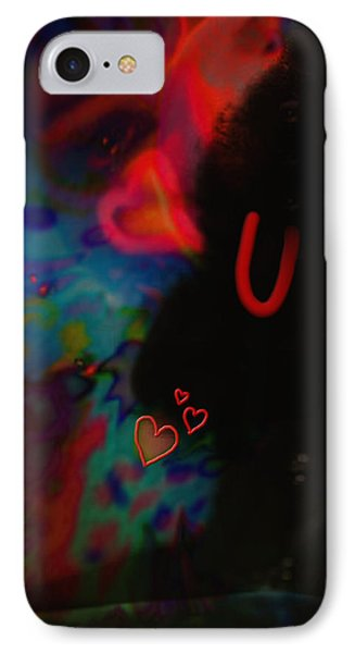 IPhone Case featuring the mixed media Eye Love U by Kevin Caudill