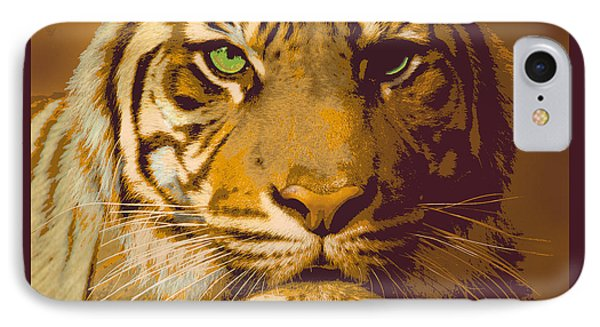 Eye Of The Tiger Animal Portrait  IPhone Case by Dale Jackson