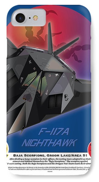 IPhone Case featuring the drawing F117a Nighthawk by Kenneth De Tore