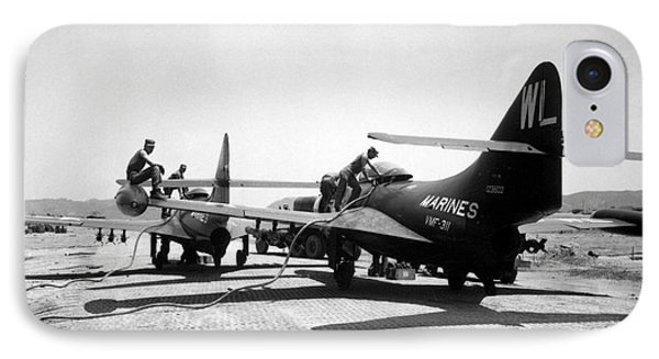 F9f Panther Jets Being Refueled Phone Case by Stocktrek Images