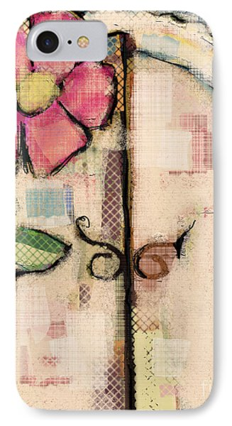 IPhone Case featuring the mixed media Fabric Fairy Door by Carrie Joy Byrnes