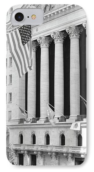 Facade Of New York Stock Exchange, Manhattan, New York City, New York State, Usa IPhone Case by Panoramic Images