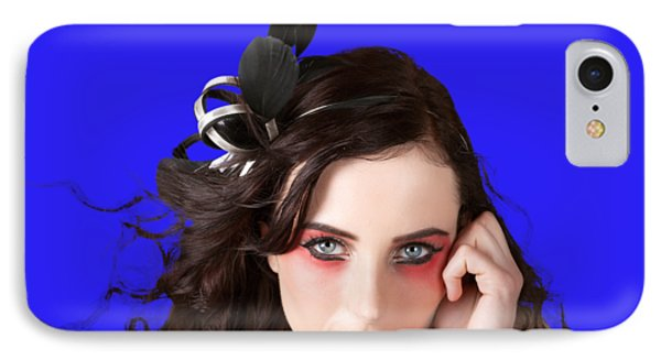 Face Of A Female Beauty With Red Eye Make Up IPhone Case