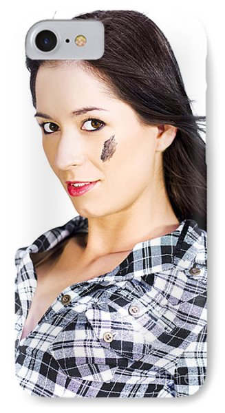 Face Of A Female Machanic IPhone Case by Jorgo Photography - Wall Art Gallery