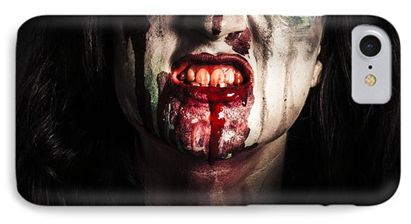 Face Of Dark Vampire Girl With Blood Mouth IPhone Case