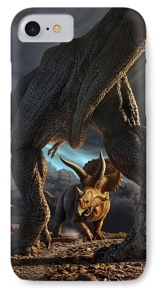 Dinosaur iPhone 7 Case - Face Off by Jerry LoFaro