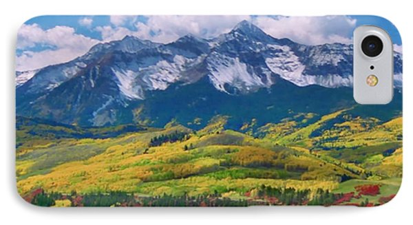 Facinating American Landscape Flowers Greens Snow Mountain Clouded Blue Sky  IPhone Case by Navin Joshi