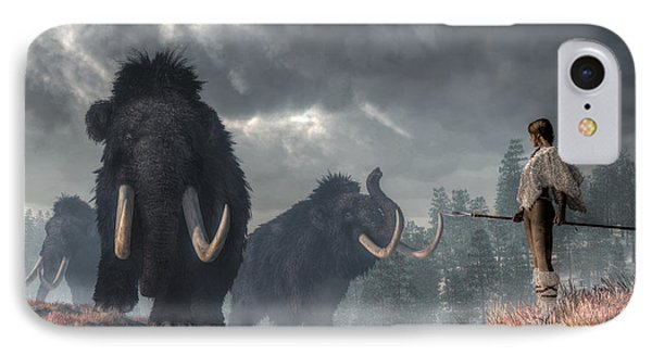 Facing The Mammoths IPhone Case by Daniel Eskridge