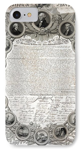 Facsimile Of The Original Draft Of The Declaration Of Independence 1776 IPhone Case by American School