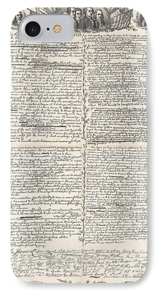 Facsimile Of The Original Draft Of The Declaration Of Independence IPhone Case