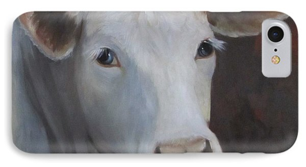 IPhone Case featuring the painting Fair Lady Cow Painting by Cheri Wollenberg