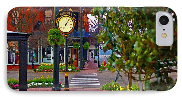 Fairhope Ave With Clock Down Section Street IPhone Case by Michael Thomas