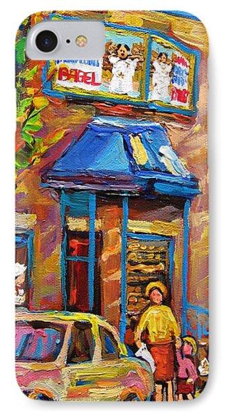 Fairmount Bagel Fairmount Street Montreal Phone Case by Carole Spandau
