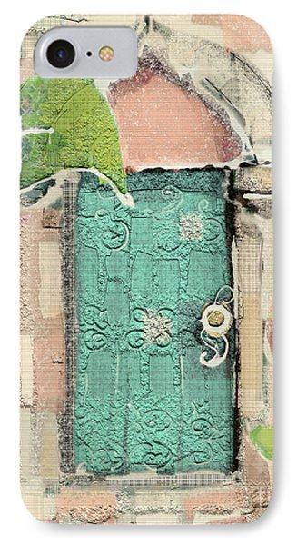 IPhone Case featuring the mixed media Fairy Door by Carrie Joy Byrnes
