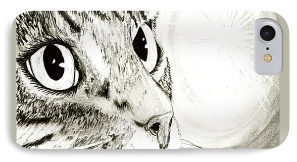 Fairy Light Tabby Cat Drawing IPhone Case by Carrie Hawks