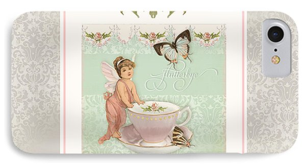 Fairy Teacups - Flutterbye Butterflies And English Rose Damask IPhone Case by Audrey Jeanne Roberts