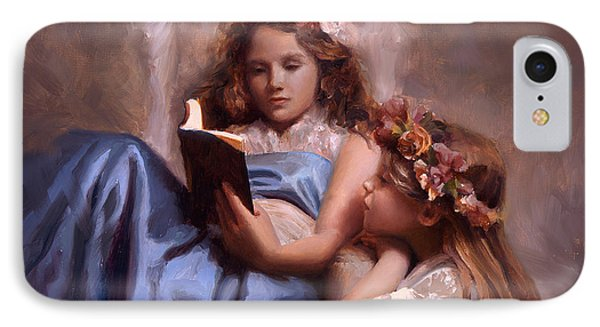 IPhone Case featuring the painting Fairytales And Lace - Portrait Of Girls Reading A Book by Karen Whitworth