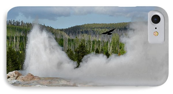Falcon Over Old Faithful - Geyser Yellowstone National Park Wy Usa Phone Case by Christine Till